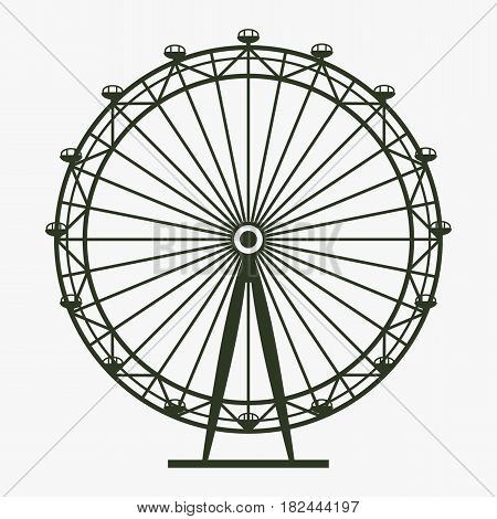 Ferris Wheel vector icon. Black icon on gray backround.
