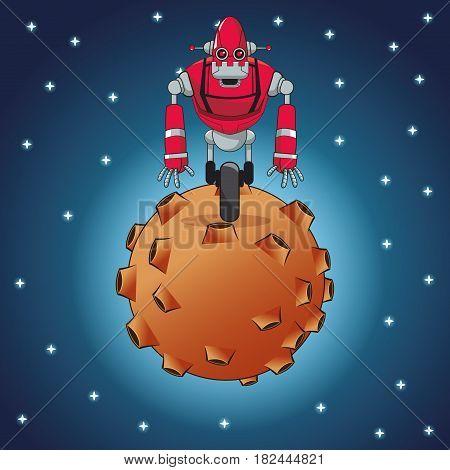 robot futuristic steel moon space vector illustration eps 10