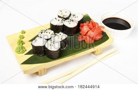 traditional fresh japanese sushi rolls with shrimp on a white background