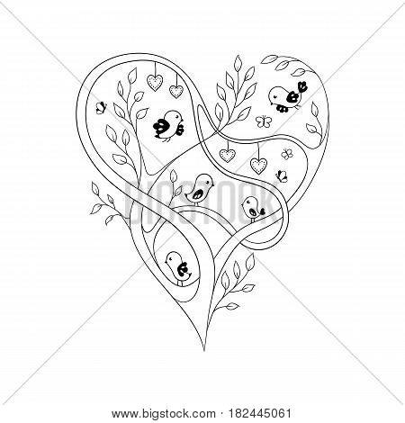 Elegant ornate heart formed by tree branches with birds and butterflies flying around. Sketch-like illustration. Coloring book page.