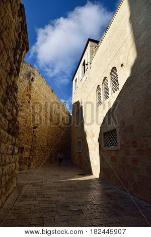 Narrow streets in medieval residential district in old Jerusalem.