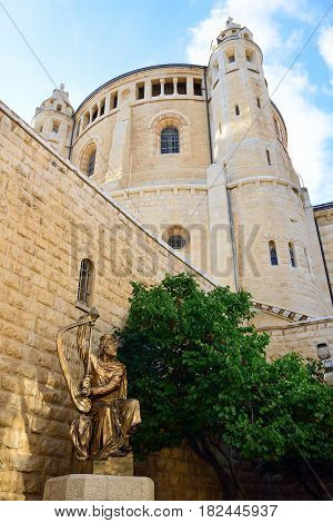 Huge building of Dormition Abbey in old city of Jerusalem Israel.
