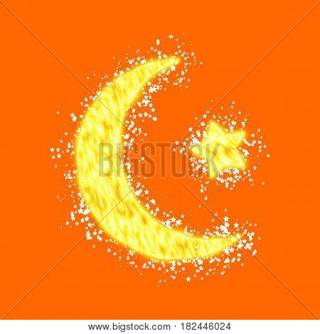 Crescent moon and star constructed of yellow glowing particles on orange background. Ramadan Kareem. Shiny decorative moon and star.