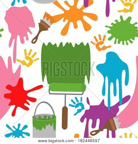 seamless pattern with paints - vector illustration, eps