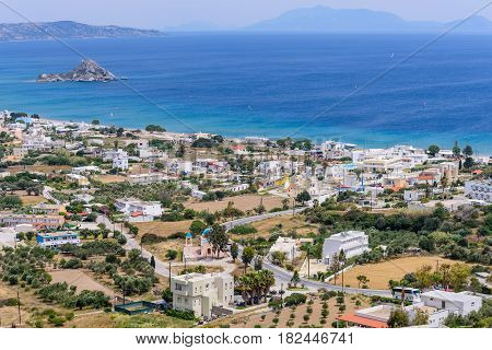Beautiful aerial view of the village Kefalos, Kastri island and the coast of Kos, Dodecanese, Greece