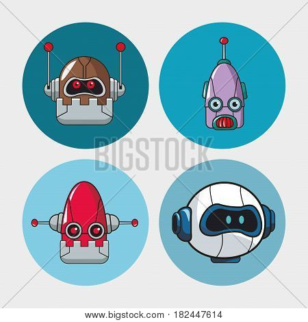 set head robots mechanical technologies vector illustration eps 10