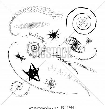 Graphical abstract a set of different swirls and stars on a white background