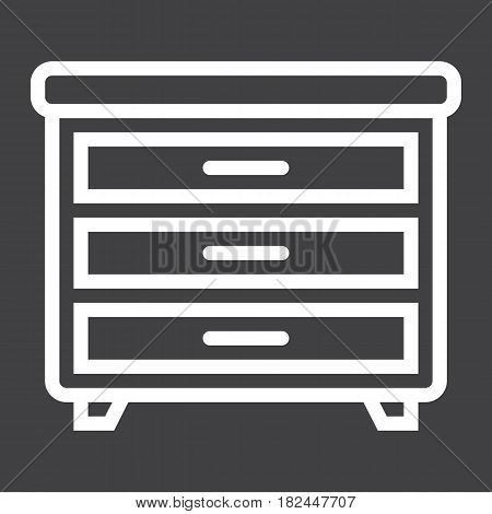 Drawer unit line icon, Furniture and interior element, vector graphics, a linear pattern on a black background, eps 10.