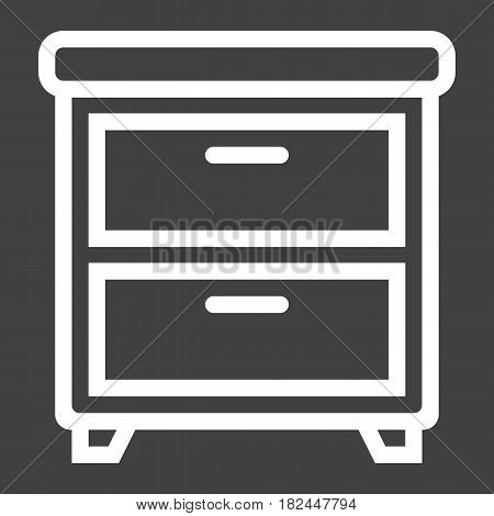 Bedside table line icon, Furniture and interior element, vector graphics, a linear pattern on a black background, eps 10.
