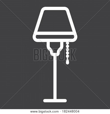 Floor lamp line icon, Furniture and interior element, vector graphics, a linear pattern on a black background, eps 10.