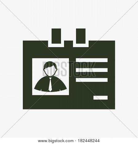 Identification card vector icon. Black icon on gray backround.