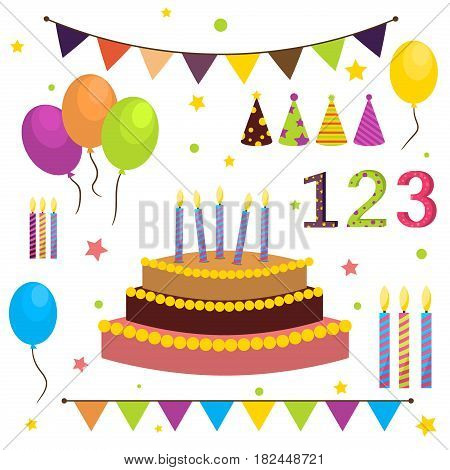 Celebration party carnival festive icons set. Colorful symbols hat balloon. Birthday party. Invitation anniversary festive greeting. Happy birthday confetti. Event decoration.