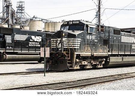 Fort Wayne - Circa April 2017: Norfolk Southern Railway Engine Train. NS is a Class I railroad in the US and is listed as NSC VII