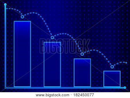 Decreasing bar graph with blue arrow . Isometric bar graph with two axes and columns, showing the rapid decline on a blue background.