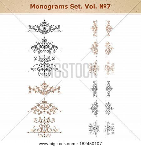 Calligraphic design elements and page decoration, set of ornate patterns in retro style
