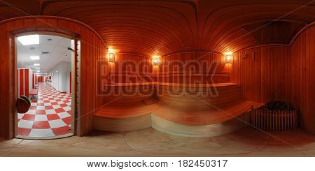A bright panorama of the sauna inside the locker room of the sports club.Equidistant projection of the panorama inside the male sauna