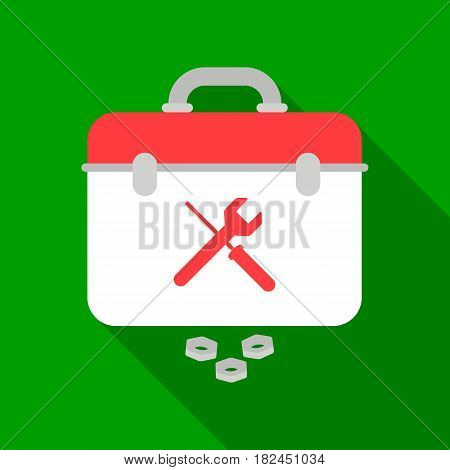 Toolbox icon in flat style isolated on white background. Plumbing symbol vector illustration.