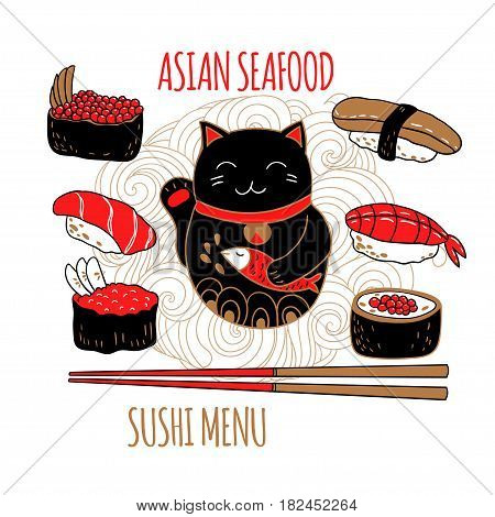Cute set with black cat maneki neko, sushi and chopsticks. Vector illustration.
