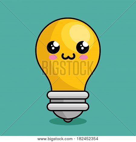 bulb light character kawaii vector illustration design