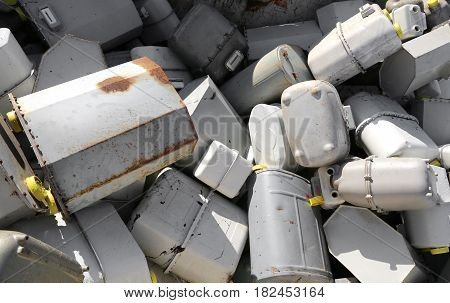 Pile Of Methane Gas Meters Discharged Into A Large Dump
