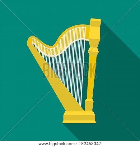 Harp icon in flat style isolated on white background. Musical instruments symbol vector illustration