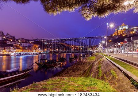 The bridge Don Luis across the Douro River in the night illumination. Porto. Portugal.