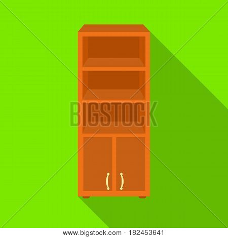 Office bookcase icon in flat style isolated on white background. Office furniture and interior symbol vector illustration.