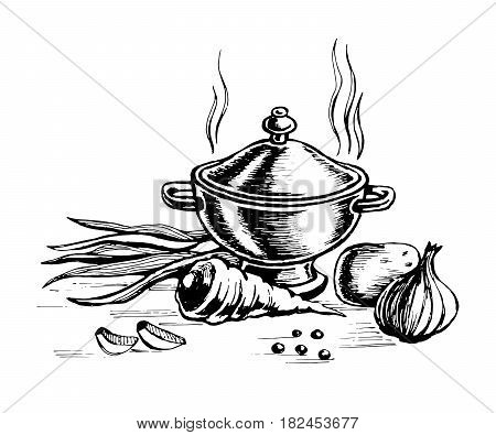 Tureen and for cooking vegetables. Finished food hot. sketch vector. egetarian and vegan food.