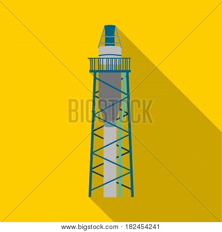 Oil rig icon in flat style isolated on white background. Oil industry symbol vector illustration.