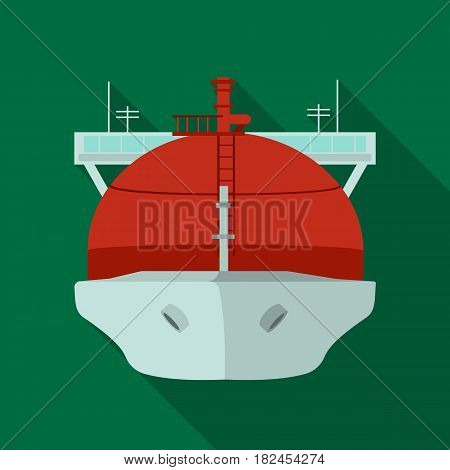 Oil tanker icon in flat style isolated on white background. Oil industry symbol vector illustration.