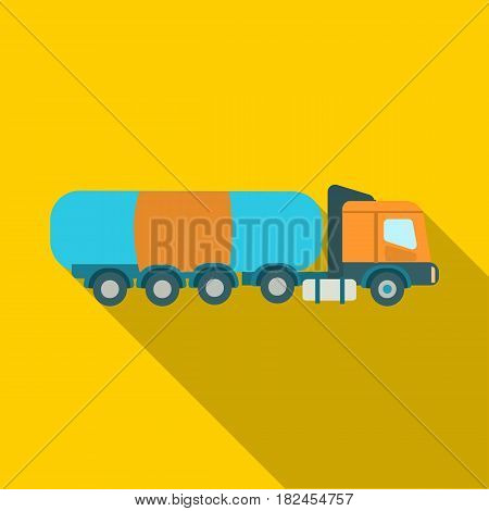 Oil tank trucker icon in flat style isolated on white background. Oil industry symbol vector illustration.