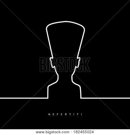 Nefertiti Face Beauty In Black And White Color Illustration
