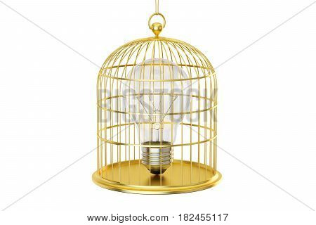 Birdcage with a lightbulb inside 3D rendering isolated on white background