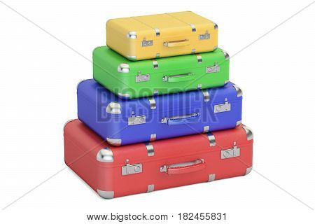 Stack of colorful travel suitcases 3D rendering isolated on white background