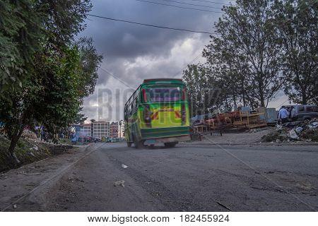 Colorful Bus In Nairobi, Capital City Of Kenya