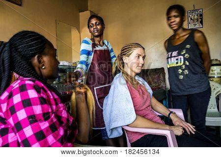 Braiding In Hairdresser Salon In Nairobi, Kenya