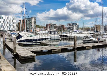 Ipswich Marina in Ipswich,UK on a sunny spring day