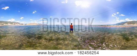 Spherical Panorama 360 Man Standing In The Sea