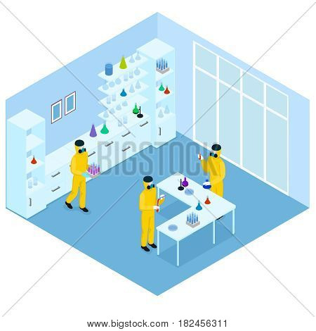 Isometric science research concept with scientists in protective suits inventing vaccine against infection in laboratory vector illustration