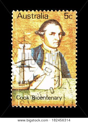 AUSTRALIA - CIRCA 1970 : Cancelled postage stamp printed by Australia, that shows  Cook Bicentenary.