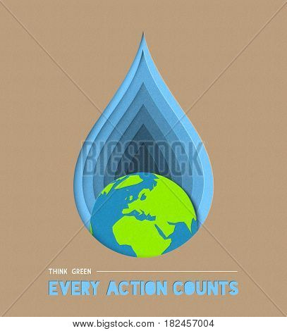 Earth Day Water Conservation Paper Cut Art