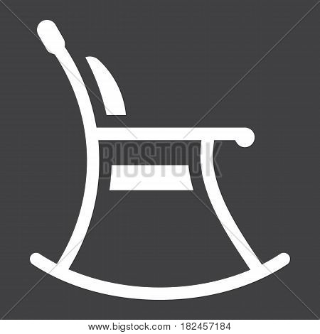 Rocking chair solid icon, Furniture and interior element, vector graphics, a filled pattern on a black background, eps 10.