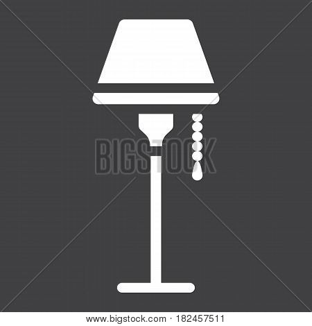 Floor lamp solid icon, Furniture and interior element, vector graphics, a filled pattern on a black background, eps 10.