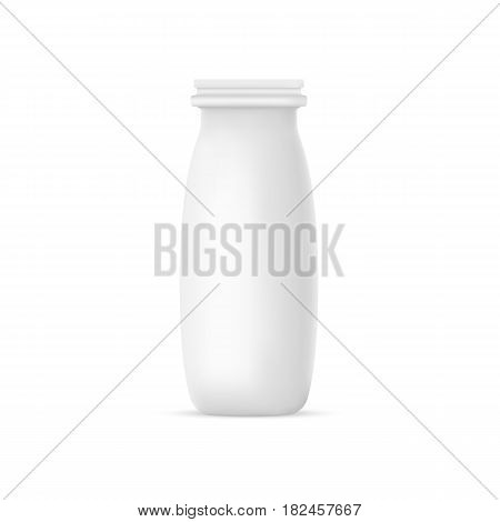 Vector realistic yogurt or milk bottle on white background. 3D mock up container. Plastic bowl design template