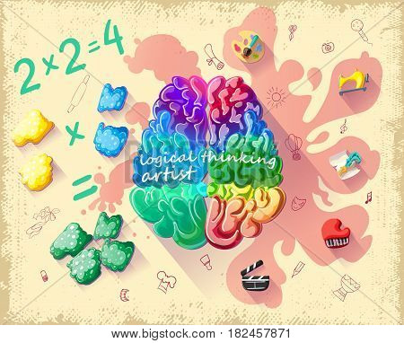 Cartoon creative cerebral thinking template of people with more developed right hemisphere of brain vector illustration