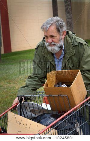 Homeless Man Cart