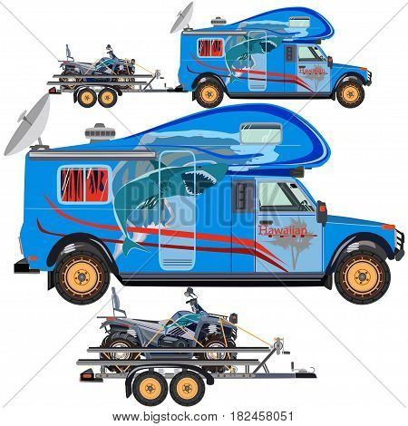 Vector illustration of quad bike travel car and trailer isolated on white background. All-terrain vehicle on car trailer flat style design.