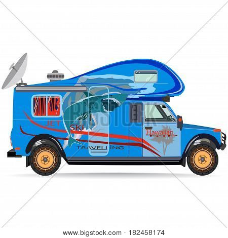 Vector illustration of travel car isolated on white background. Motor home for camping flat style design.