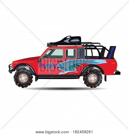 Vector illustration of travel car isolated on white background. Flat style design.