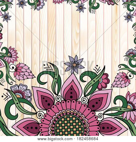 Vector abstract floral elements in Indian mehndi style on wooden background. Abstract henna floral vector illustration. Design element.